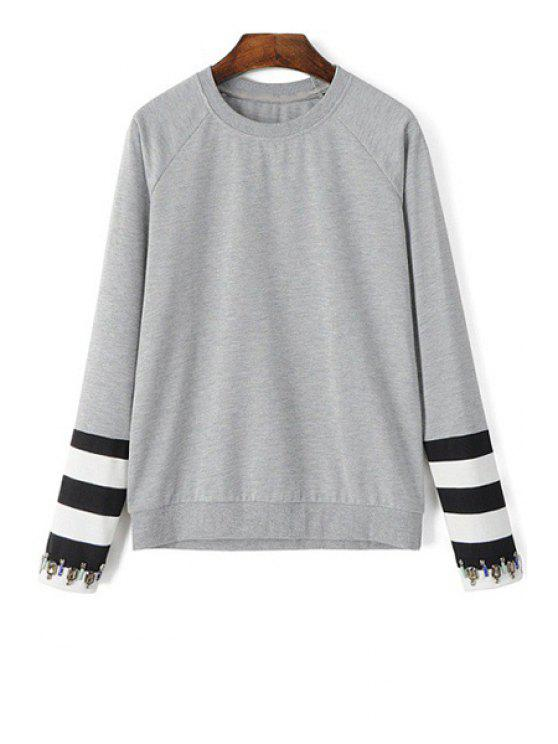 chic Artificial Gem Stripe Long Sleeve Sweatshirt - GRAY M