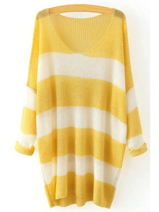 unique V Neck Color Block Stripe Sweater - YELLOW ONE SIZE(FIT SIZE XS TO M)