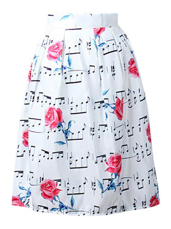 fancy A-Line Floral and Music Notes Print Midi Skirt - WHITE ONE SIZE(FIT SIZE XS TO M)