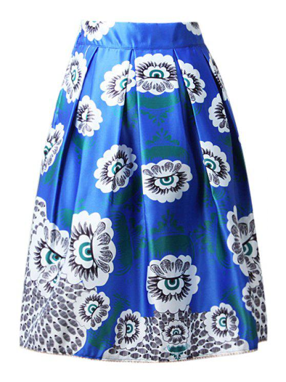 women High-Waisted A-Line Printed Midi Skirt - BLUE ONE SIZE(FIT SIZE XS TO M)