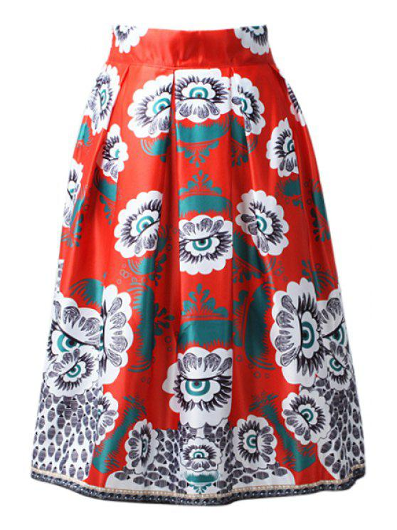 womens High-Waisted A-Line Printed Midi Skirt - RED ONE SIZE(FIT SIZE XS TO M)