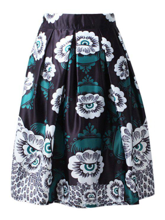 women's High-Waisted A-Line Printed Midi Skirt - BLACK ONE SIZE(FIT SIZE XS TO M)