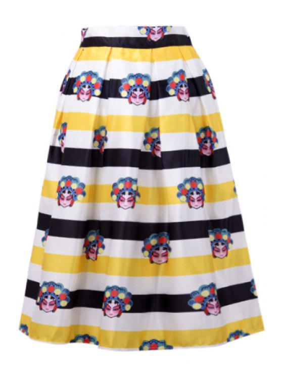 best A-Line Character Print Stripes Midi Skirt - YELLOW ONE SIZE(FIT SIZE XS TO M)