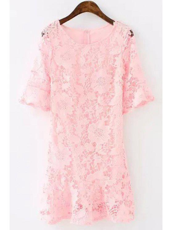 online Lace Floral Openwork Half Sleeve Dress - PINK S
