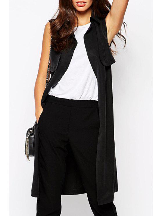 buy Black Turn-Down Collar Sleeveless Trench - BLACK S