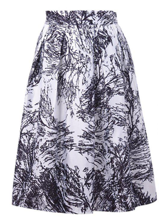 hot Ruffled A-Line Graffiti Print Midi Skirt - WHITE ONE SIZE(FIT SIZE XS TO M)