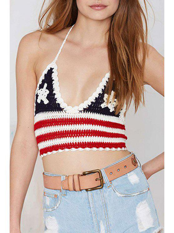 shops American Flag Pattern Halter Crop Top - BLACK AND WHITE AND RED S