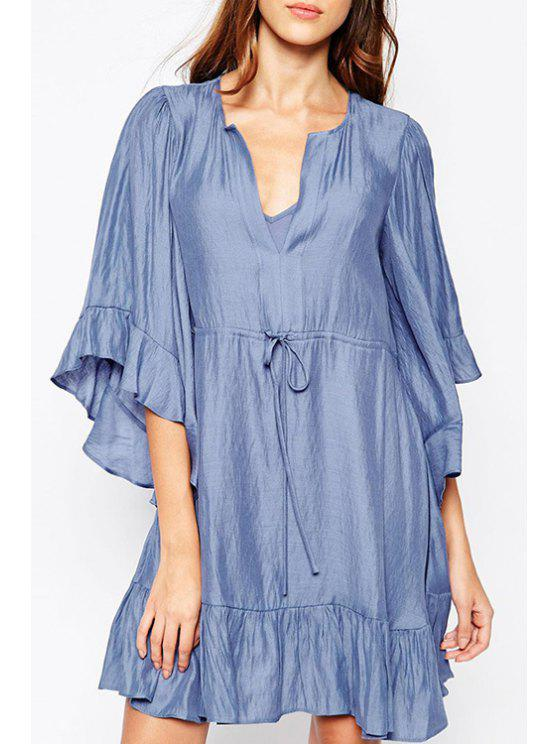 lady Pure Color Ruffles V Neck Half Sleeve Dress - BLUE L