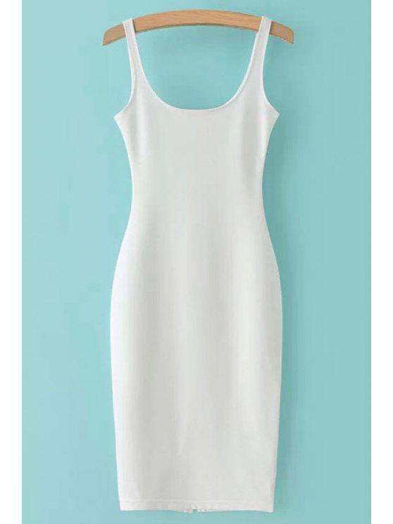 ladies Straps Solid Color Back Slit Sleeveless Dress - WHITE S