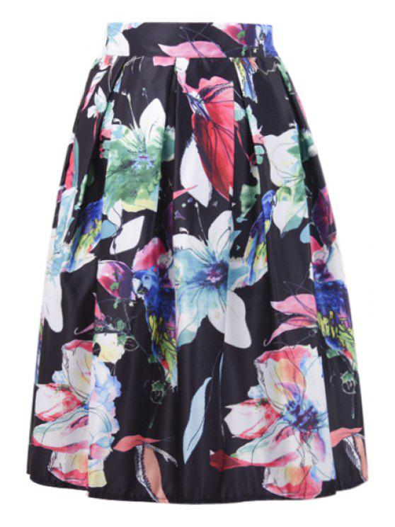 latest A-Line Floral and Bird Print Midi Skirt - BLACK ONE SIZE(FIT SIZE XS TO M)