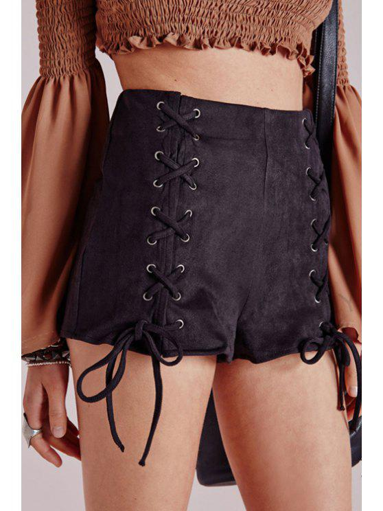 sale Black Lace Up High Waisted Shorts - BLACK S