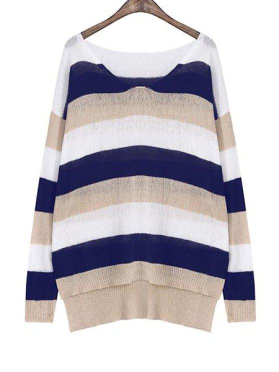 chic Color Block Striped Irregular Hem Sweater - KHAKI ONE SIZE(FIT SIZE XS TO M)