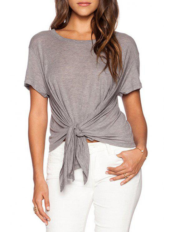 outfit Pure Color Short Sleeve T-Shirt - GRAY S