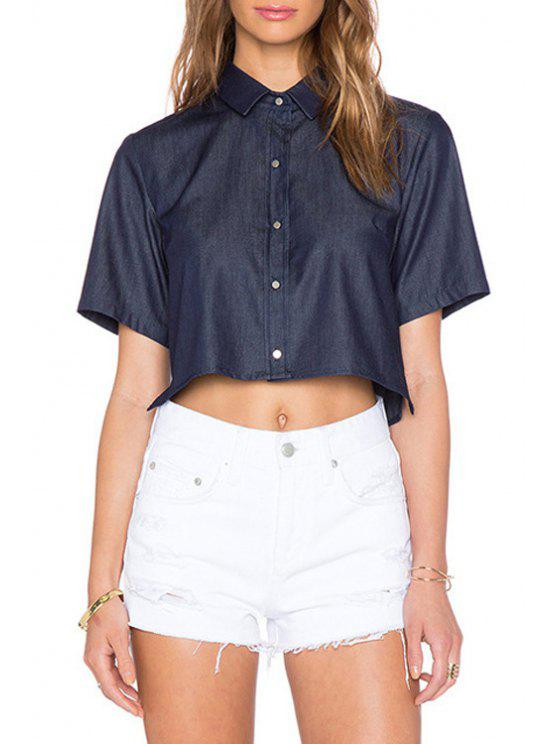 fancy Pure Color Short Sleeve Shirt Neck Crop Top - DEEP BLUE S