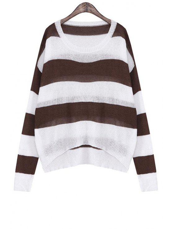 unique Striped Irregular Hem Loose-Fitting Sweater - COFFEE ONE SIZE(FIT SIZE XS TO M)