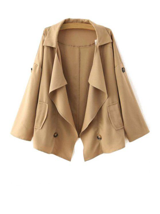 women Loose-Fitting Buttons Long Sleeve Trench Coat - KHAKI S