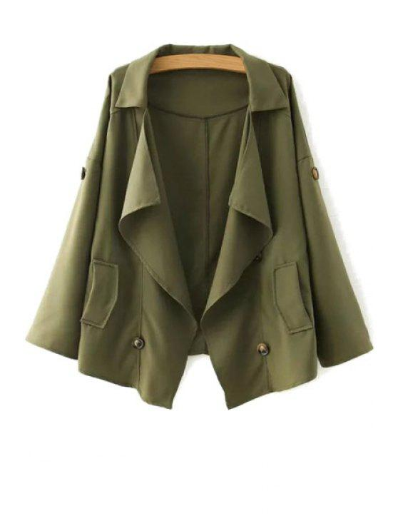 new Loose-Fitting Buttons Long Sleeve Trench Coat - ARMY GREEN S