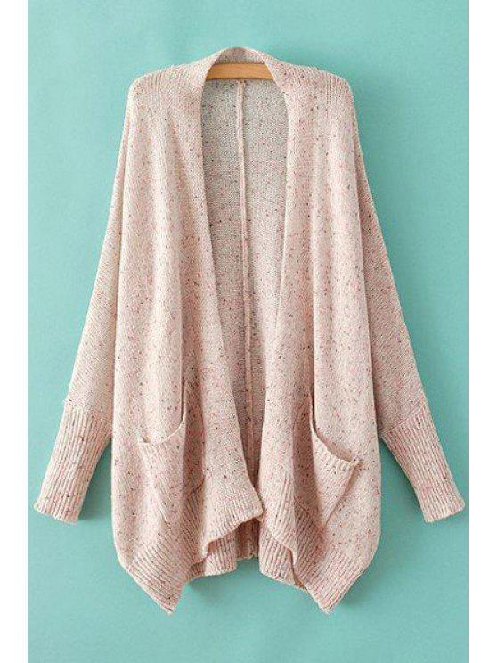 best Asymmetrical Pocket Long Sleeve Cardigan - PINK ONE SIZE(FIT SIZE XS TO M)