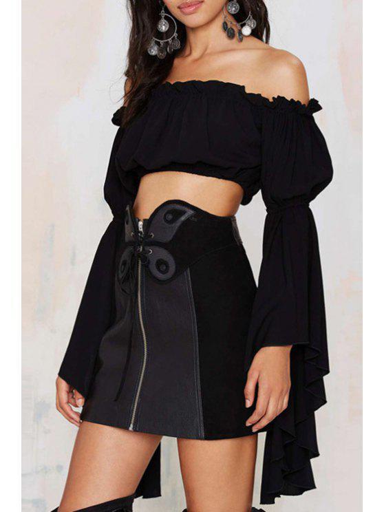 outfits Black Slash Neck Long Sleeve Crop Top - BLACK S