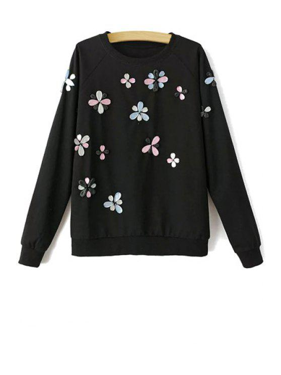 lady Stereo Floral Pattern Long Sleeve Sweatshirt - BLACK L