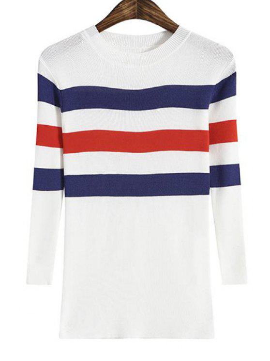 women's Fitted Color Block Striped Knitwear - BLUE ONE SIZE(FIT SIZE XS TO M)