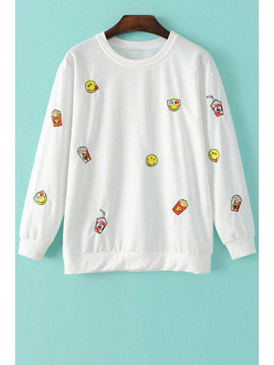 new Smile Face Embroidery Long Sleeve Sweatshirt - WHITE M