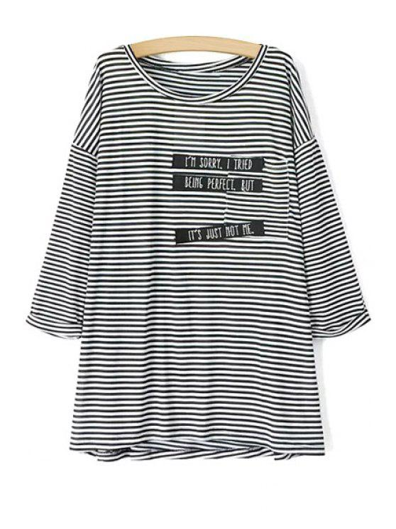 women's Letter Print Stripe Long Sleeve T-Shirt - AS THE PICTURE L