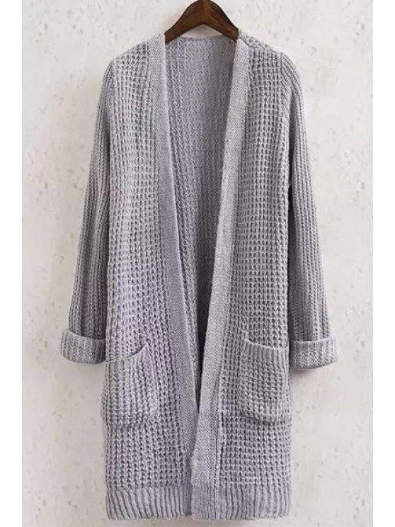 new Solid Color Pocket Long Sleeve Collarless Cardigan - GRAY M