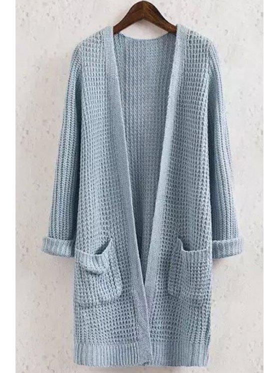 sale Solid Color Pocket Long Sleeve Collarless Cardigan - BLUE M