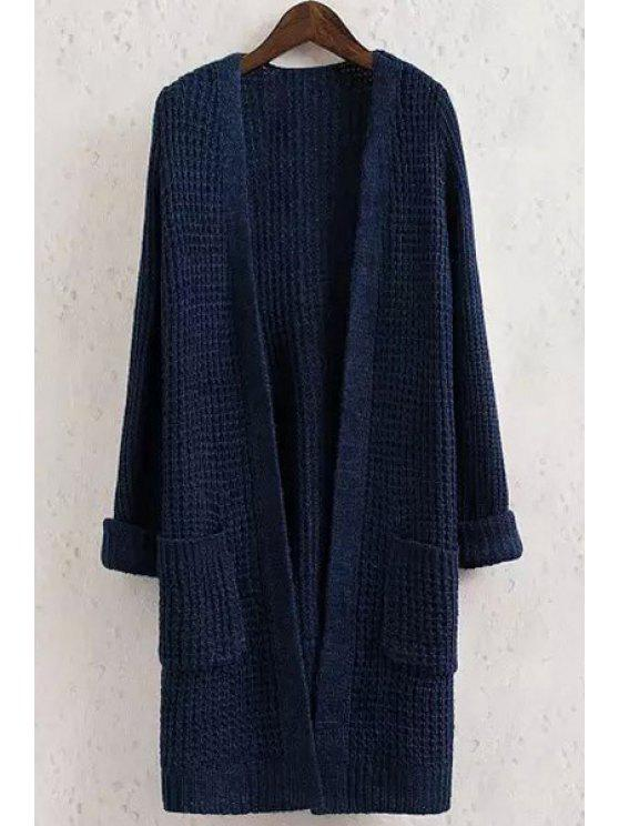 Solid Color Pocket Long Sleeve Collarless Cardigan - PURPLISH BLUE S