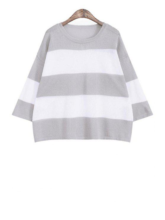 new Color Block Striped Loose-Fitting Sweater - GRAY ONE SIZE(FIT SIZE XS TO M)