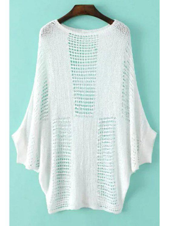online Mesh See-Through Batwing Sweater - WHITE ONE SIZE(FIT SIZE XS TO M)