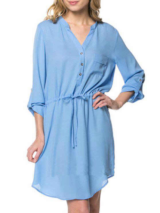 unique Pure Color V Neck Long Sleeve Dress - LIGHT BLUE S