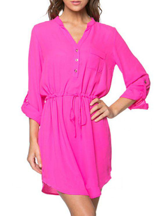 hot Pure Color V Neck Long Sleeve Dress - PINK L