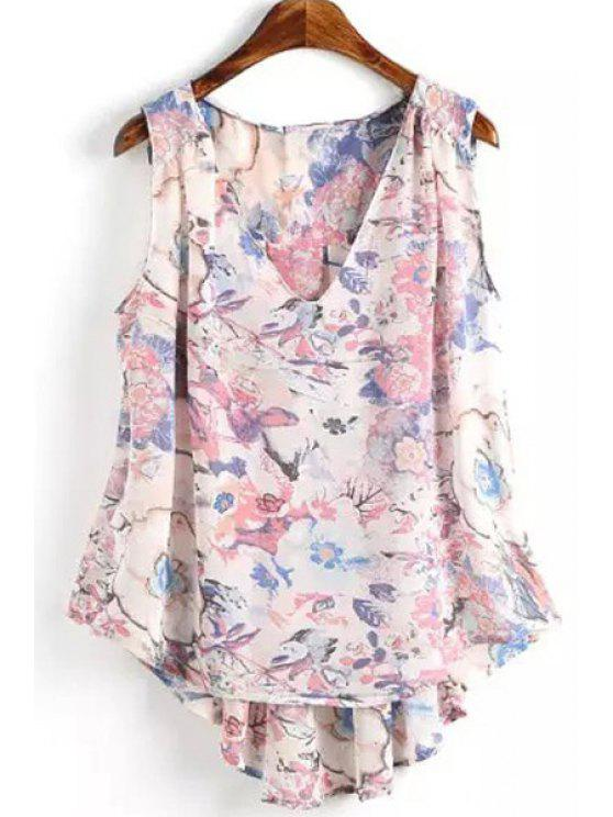 affordable Floral Print Back Ruffle Sleeveless Tank Top - PINK S