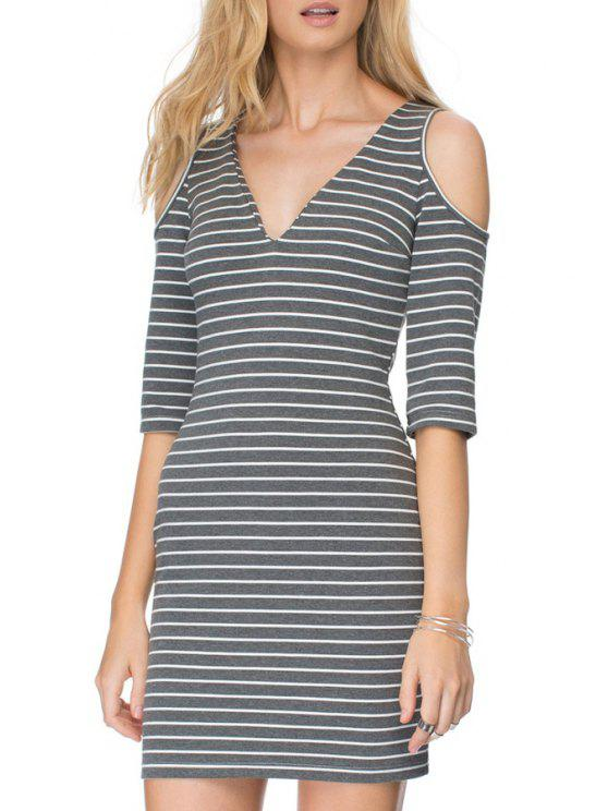 outfit Striped Half Sleeve Cut Out Dress - GRAY S