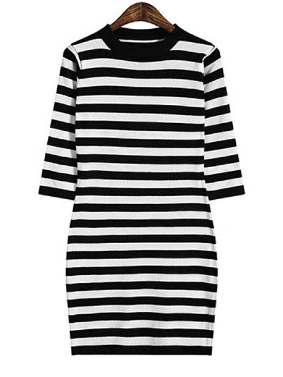 chic Stretchy Striped Sweater Dress - BLACK ONE SIZE(FIT SIZE XS TO M)