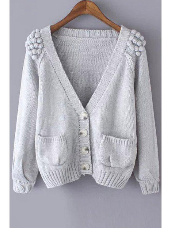 outfits Stereo Ball Pocket Long Sleeve Cardigan - GRAY ONE SIZE(FIT SIZE XS TO M)
