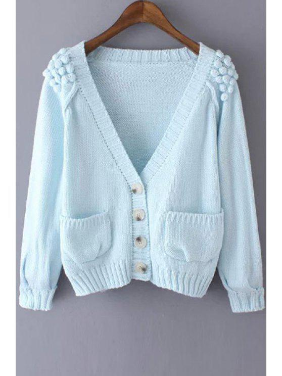 shops Stereo Ball Pocket Long Sleeve Cardigan - AZURE ONE SIZE(FIT SIZE XS TO M)