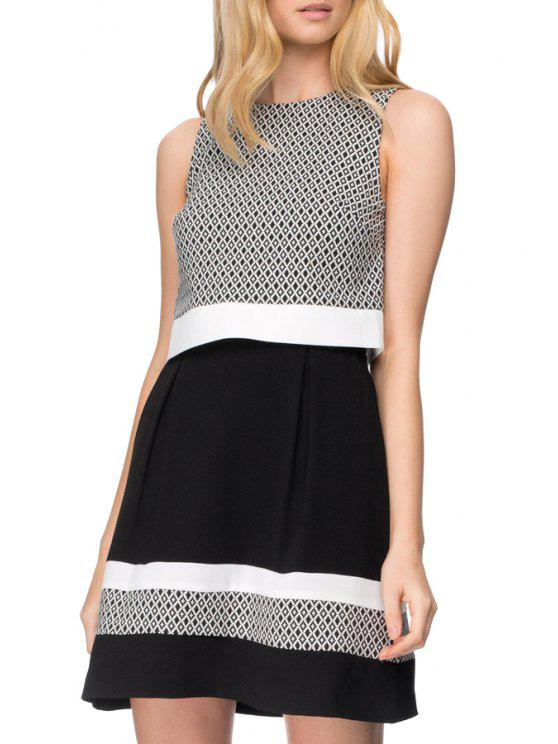 fancy Sleeveless A Line Color Block Dress - WHITE AND BLACK S