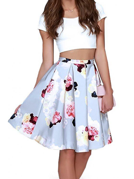trendy Solid Color Crop Top + Floral Print Skirt - BLUE AND WHITE S