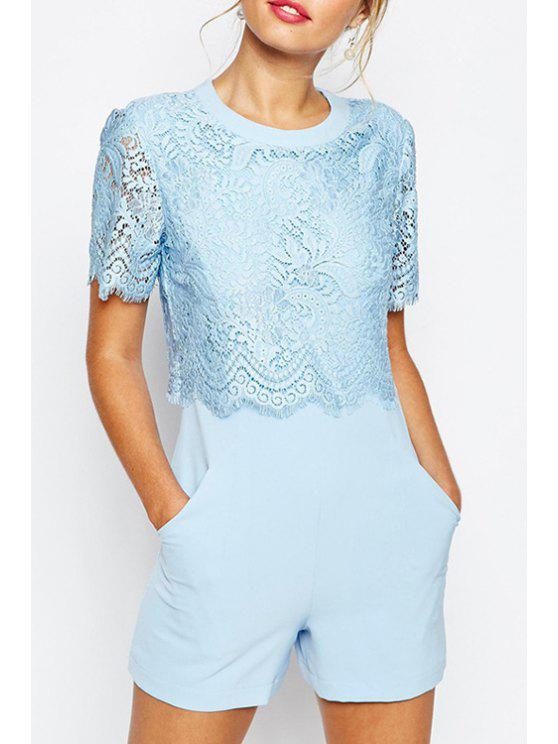 chic Lace Splicing Solid Color Short Sleeve Romper - BLUE S
