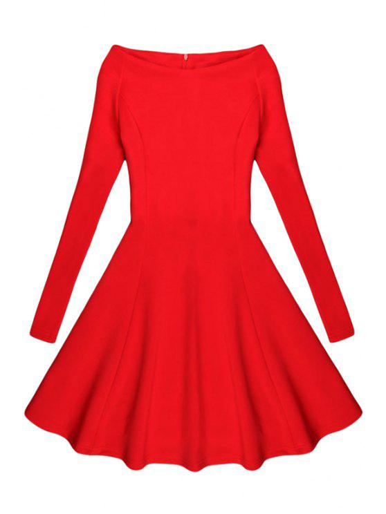 outfit Black Slash Neck Long Sleeve A Line Dress - RED L