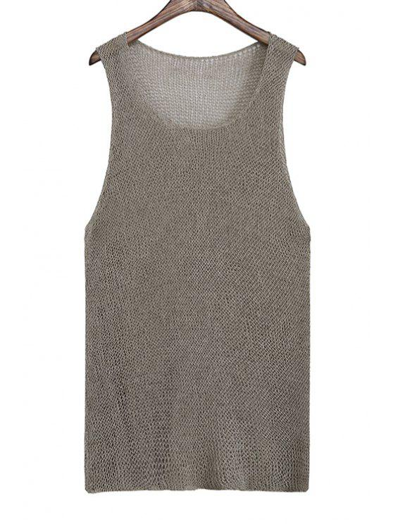 womens Solid Color Knitted Hollow Out Tank Top - GREEN ONE SIZE(FIT SIZE XS TO M)