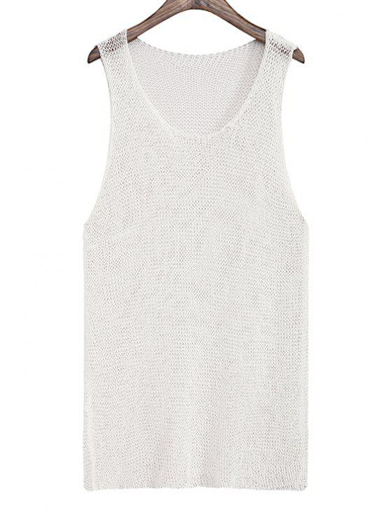 women Solid Color Knitted Hollow Out Tank Top - WHITE ONE SIZE(FIT SIZE XS TO M)