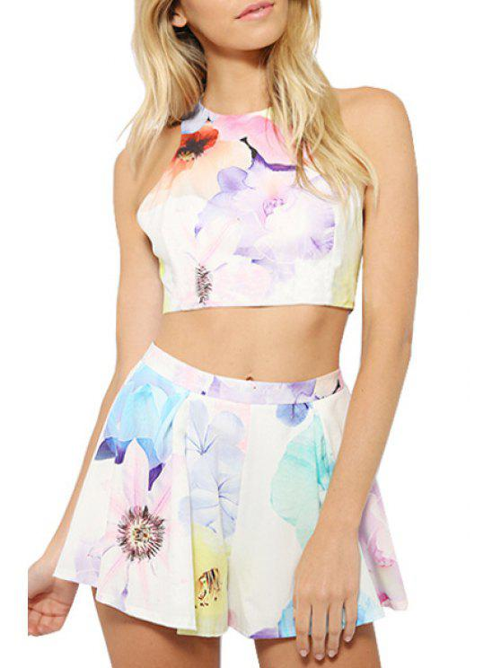 buy Floral Print Sleeveless Crop Top + Shorts - WHITE S