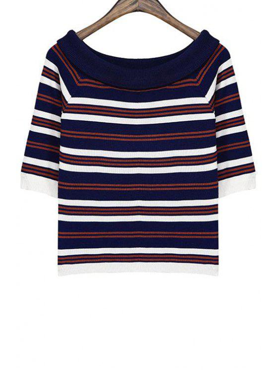 sale Boat Neck Color Block Striped Sweater - COFFEE ONE SIZE(FIT SIZE XS TO M)