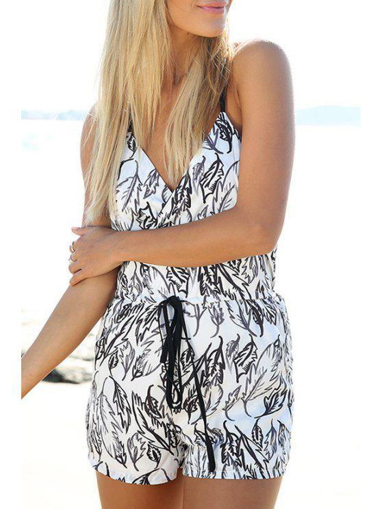 hot Spaghetti Strap Feather Print Tie-Up Romper - WHITE S