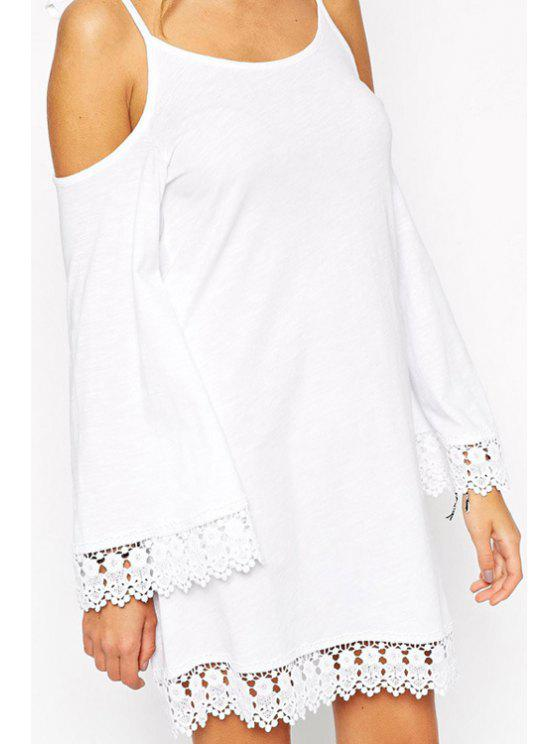 lady Tie-Up Lace Splicing Long Sleeve Dress - WHITE S