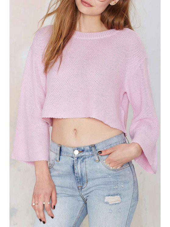 trendy Solid Color Loose-Fitting Long Sleeve Sweater - PINK S